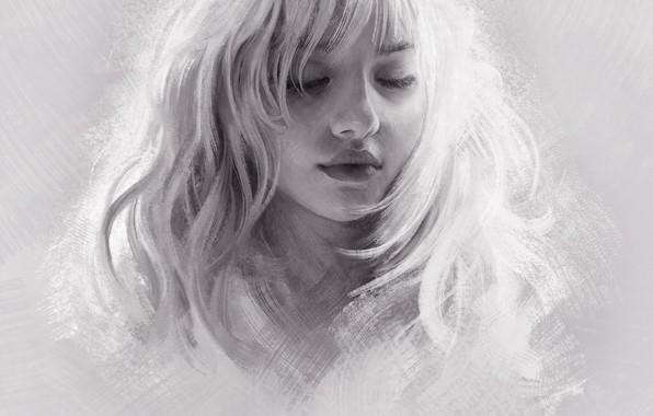 Picture Girl, Figure, Blonde, Girl, Hair, Art, Art, Blonde, Hair, Artist, Artist, Mandy Jurgens, Closed eyes, …