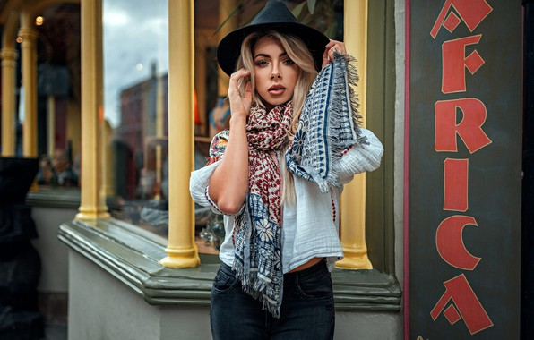 Picture look, pose, model, portrait, jeans, hat, makeup, scarf, figure, hairstyle, blonde, blouse, is, bokeh, Tillie, …