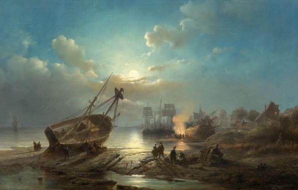 Picture Belgian painter, Belgian painter, 1856, oil on canvas, Henri Adolphe Sheep, Henri Adolphe Schaep, Night …