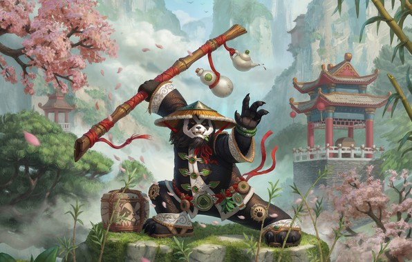 Picture the game, fantasy, art, Panda, Blizzard, Nelly Amosova, Smirnov illustration cup, Chen fan art