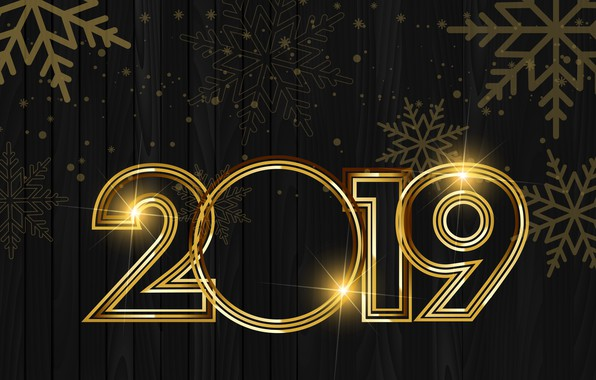 Picture gold, New Year, figures, golden, black background, black, background, New Year, Happy, sparkle, 2019