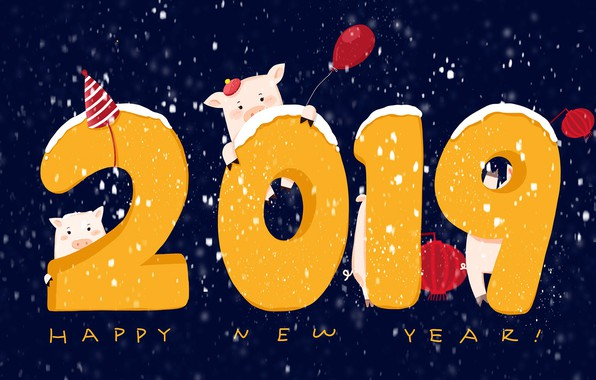 Picture balls, background, New year, New Year, pigs, 2019