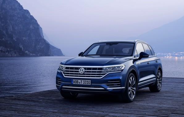 Picture blue, lake, shore, Volkswagen, pierce, Touareg, 2018, SUV, Elegance