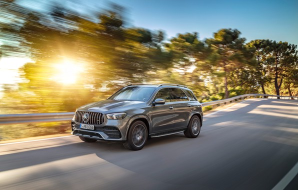 Picture road, machine, asphalt, the sun, trees, lights, Mercedes-Benz, crossover, Mercedes-AMG, GLE 53, 4Matic+
