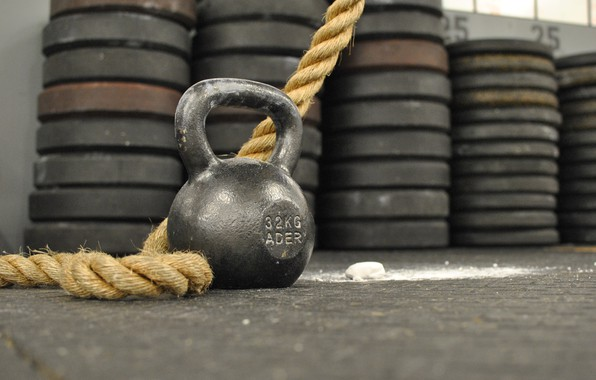 Picture Rope, Kettlebell, Crossfit, Weight, Weight 32 kg, Sports weight