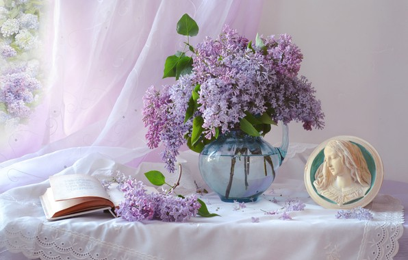 Picture branches, portrait, book, pitcher, still life, curtain, lilac, Valentina Fencing