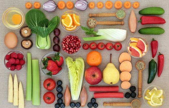Picture raspberry, lemon, mushrooms, Apple, orange, eggs, corn, bow, blueberries, strawberry, berry, pear, pepper, fruit, vegetables, …