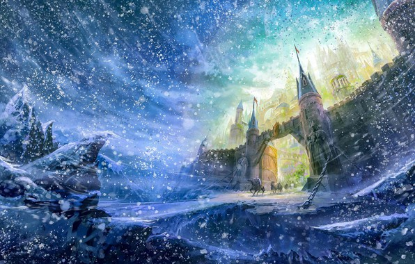 Picture winter, castle, wall, gate, wall, riders, snowfall, winter, castle, snowfall, fantasy art, gate, riders, fantasy …