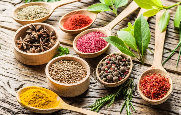 Picture pepper, grass, wood, spices, spoon, anise star, spices, Laurel, turmeric