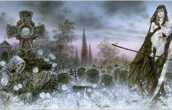 Picture Flowers, Girl, Death, Braid, Luis Royo, Crosses, Luis Royo, Cemetery, Child, White roses, DEATH AND …