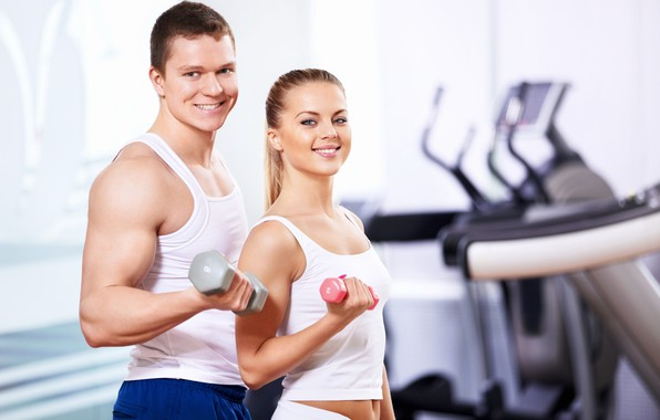 Picture girl, smile, sport, male, muscles, dumbbells