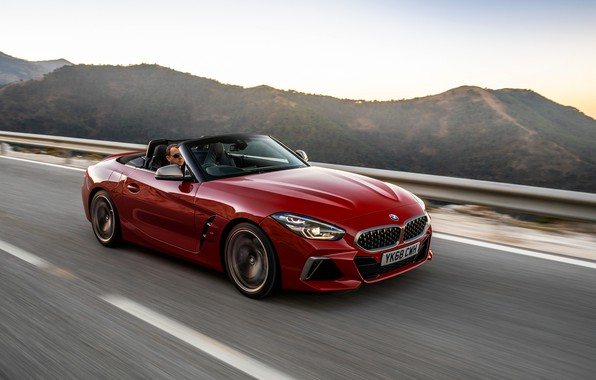 Picture red, movement, BMW, Roadster, BMW Z4, M40i, Z4, 2019, UK version, G29