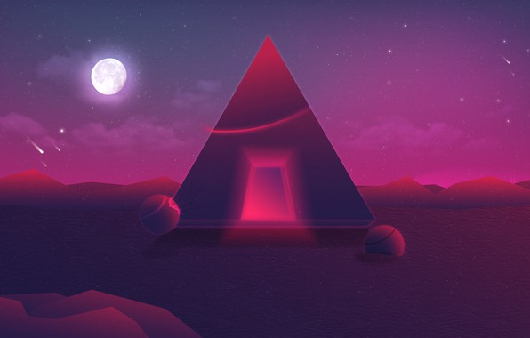 Picture Music, Stars, The moon, Space, Pyramid, 80s, Neon, 80's, Synth, Retrowave, Synthwave, New Retro Wave, …