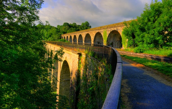 Photo wallpaper greens, the sun, trees, bridge, England, structure, Shropshire, Chirk Bank