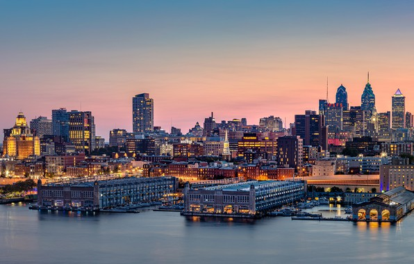 Picture the sky, sunset, lights, river, building, home, the evening, lights, panorama, USA, PA, promenade, skyscrapers, …