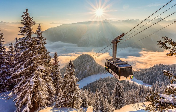 Picture winter, the sun, clouds, rays, snow, landscape, mountains, nature, ate, Alps, the trailer, forest, Cabinet, …
