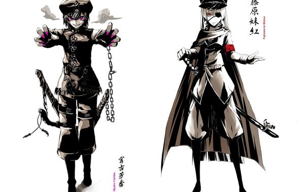 Picture katana, boots, chain, cloak, cap, military uniform, shoulder straps, eye patch, evil eye, Touhou Project, …