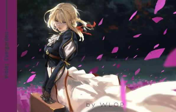 Picture the wind, blonde, gloves, suitcase, art, letters, in the dark, red ribbon, Wlop, Violet Evergarden