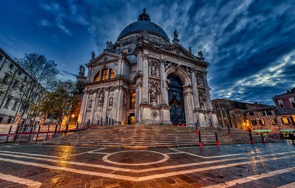 Picture the evening, Italy, Venice, Cathedral, architecture, Italy, Venice, Santa Maria della Salute, Santa Maria della …