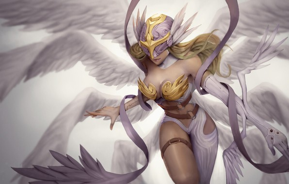 Picture girl, fantasy, cleavage, breast, wings, Angel, blonde, digital art, artwork, fantasy art, chest, pearls