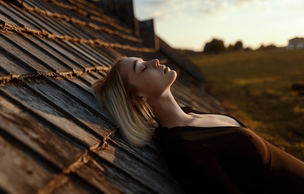 Picture roof, chest, girl, freckles, profile, on the roof, Aleks Five