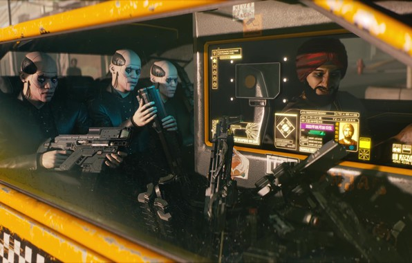 Picture The game, Weapons, Taxi, CD Projekt RED, Cyberpunk 2077, Cyberpunk, Cyberpunk, Cyberpunk 2077, Cyborgs, 2077, …