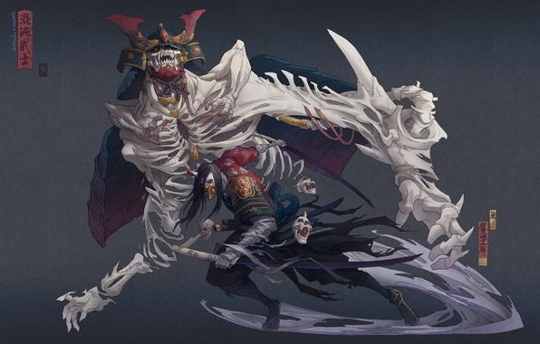 Picture sword, fantasy, armor, skulls, art, katana, men, death, samurai, weapons, artwork, mask, warrior, drawing, creature, …