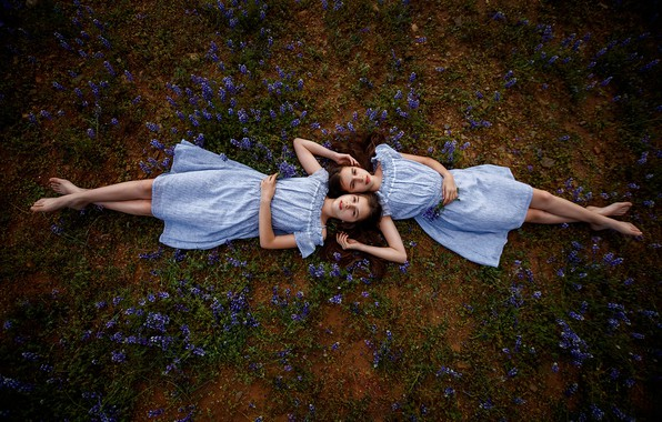 Picture flowers, girls, two, barefoot, sisters, lie, brown-haired women, dresses, on earth, Sergey Bidun
