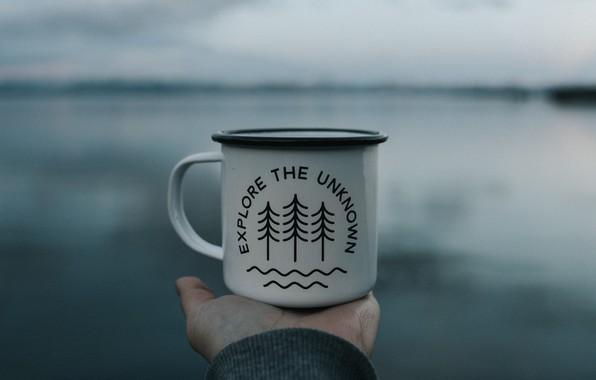 Picture wallpaper, nature, text, lake, macro, hand, inscription, mug