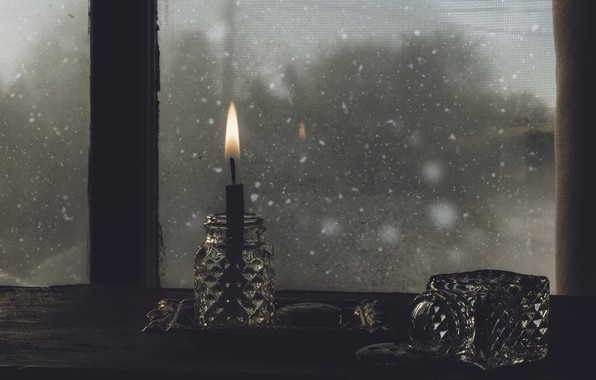 Picture the darkness, candle, window