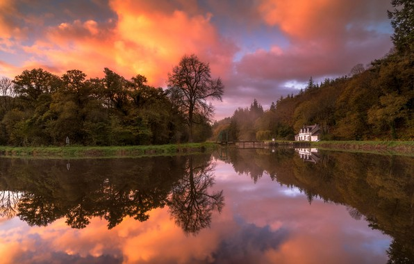 Picture autumn, forest, white, the sky, color, clouds, trees, sunset, lake, house, pond, Park, shore, bright, …