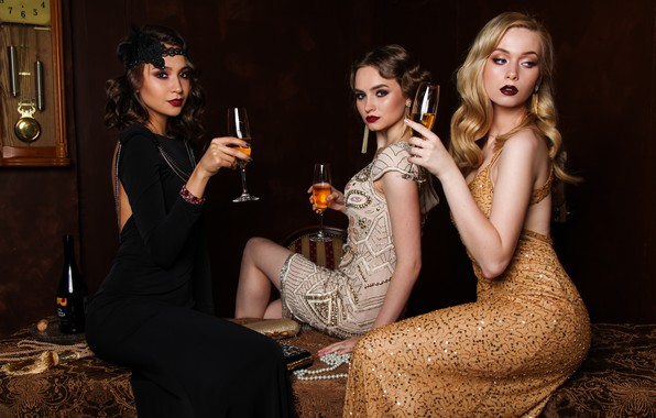 Picture time, style, retro, table, girls, wine, watch, bottle, dress, brunette, blonde, chair, beads, blonde, champagne, …