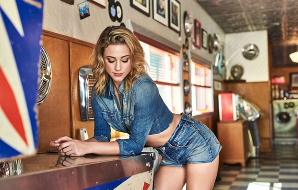 Picture girl, shorts, legs, model, blonde, actress, shirt, wavy hair, bent over, closed eyes, denim, jean …