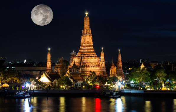 Picture night, lights, the moon, Thailand, temple, Bangkok, Wat Arun