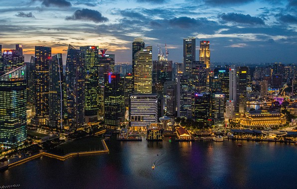 Picture building, home, panorama, Bay, Singapore, night city, skyscrapers, Singapore, Marina Bay, Marina Bay