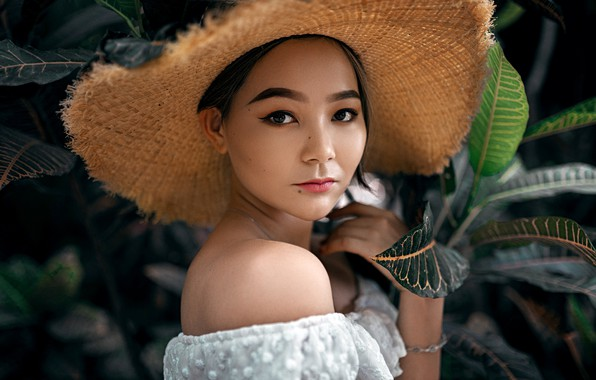 Picture look, leaves, nature, model, portrait, hat, makeup, brunette, hairstyle, topic, Asian, in white, bokeh, Aleksandr …