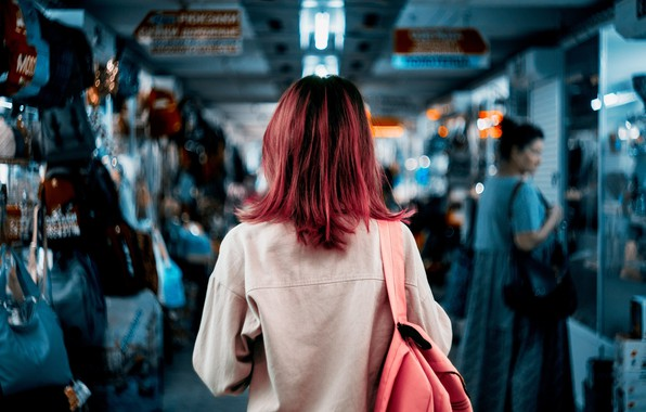 Picture girl, back, color, pink hair