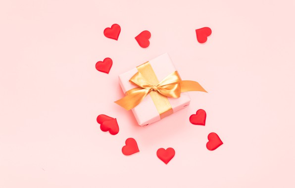 Picture background, pink, gift, hearts