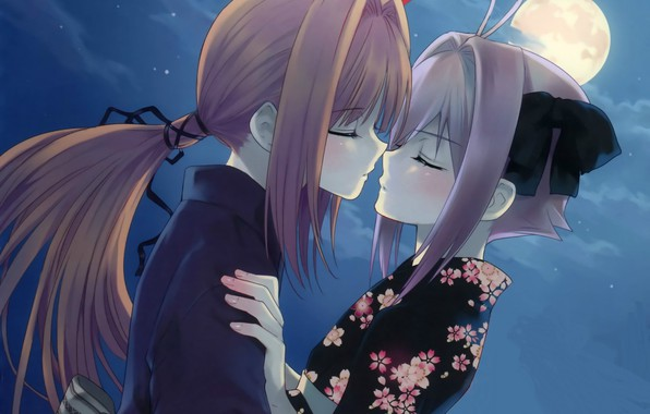 Picture night, the moon, romance, yukata, long hair, art, closed eyes, almost kiss, the guy with …