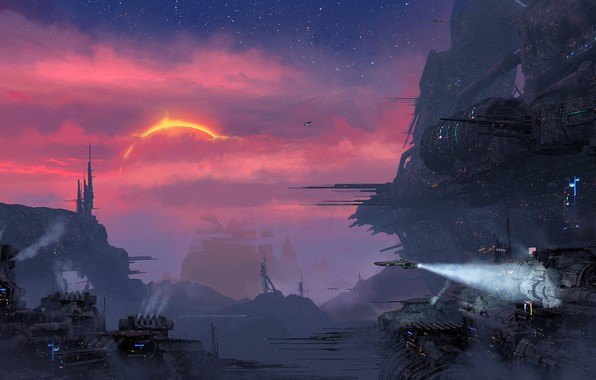 Picture Sunset, The sun, The city, Future, Station, Star, Art, Art, Spaceship, Fiction, Concept Art, Environments, ...