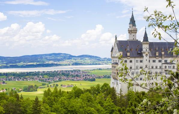 Picture mountains, castle, spring, Germany, Germany, mountain, Neuschwanstein, Bavaria, spring, Alps, Neuschwanstein Castle