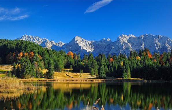 Picture autumn, forest, the sky, clouds, light, mountains, nature, lake, reflection, blue, rocks, blue, shore, the …