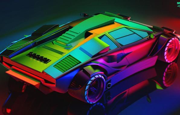 Picture Auto, Lamborghini, Neon, Machine, Car, Art, The view from the top, Neon, Countach, Rendering, Concept ...