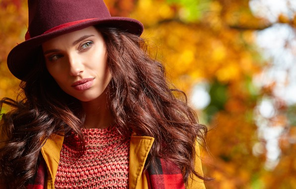 Picture autumn, girl, hat, brown hair