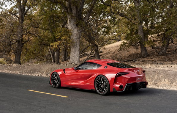 Picture asphalt, trees, red, coupe, Toyota, 2014, FT-1 Concept