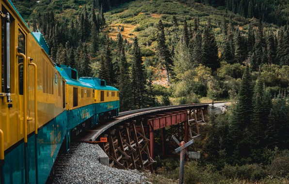 Picture Alaska, forest, trees, nature, yellow, bridge, blue, mountains, landscapes, train, rails, tracks, train tracks, 4k …
