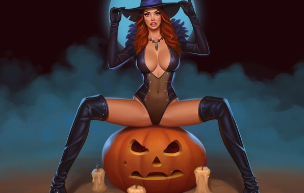 Picture fog, candles, red, bats, the full moon, halloween, boots, Jack, witch, pumpkin with eyes, witch …