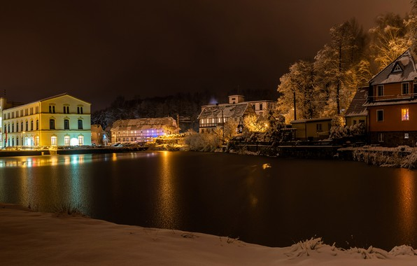 Picture winter, snow, trees, night, lights, river, home, Germany, lights, Cunewalde