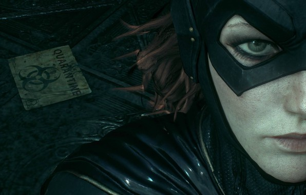 Picture Girl, The game, Look, Eyes, Lips, Hair, Eyelashes, Mask, Nose, Cloak, Red, Character, Batgirl, Barbara, …