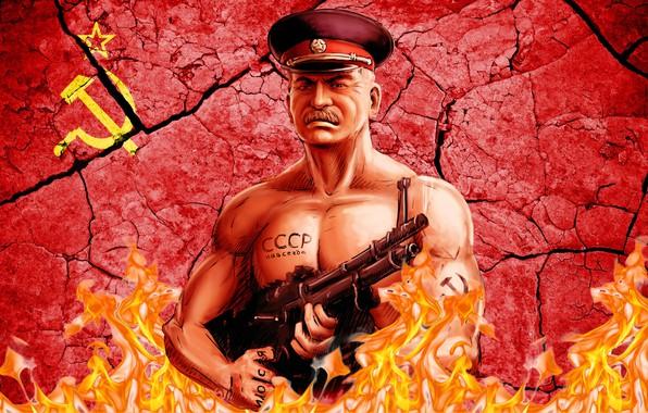 Picture Machine gun, USSR, Joseph Stalin, Cap, The Leader Of Communism
